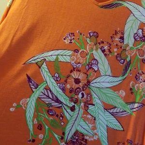 Chico's sz 1 gorgeous orange floral vneck pullover